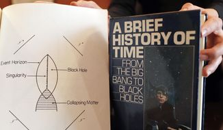 A book and scripts are among the personal and academic possessions of Stephen Hawking at the auction house Christies in London, Friday, Oct. 19, 2018. (AP Photo/Frank Augstein) ** FILE **