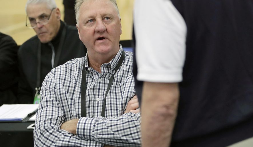 FILE - In this May 17, 2018, file photo, basketball Hall of Famer Larry Bird attends the NBA draft combine in Chicago. A museum is being planned to tell the story of Bird, an Indiana native. Indiana Gov. Eric Holcomb announced Saturday, Oct. 20, 2018, that the museum will be located in a new convention center that's being built in Terre Haute in western Indiana. (AP Photo/Charles Rex Arbogast, File)
