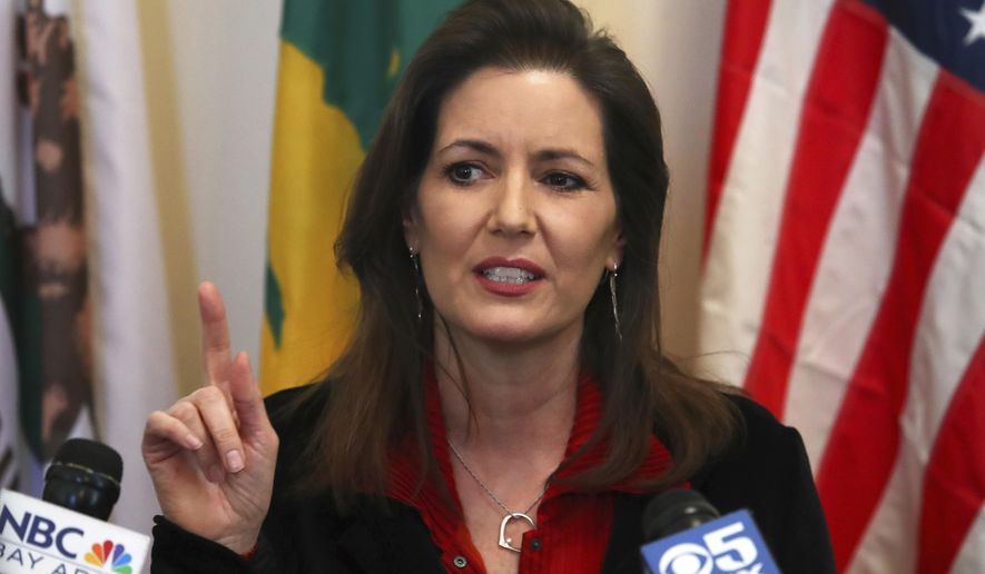 In this March 7, 2018, file photo, Oakland Mayor Libby Schaaf gestures during a news conference in Oakland, Calif. (AP Photo/Ben Margot, file)