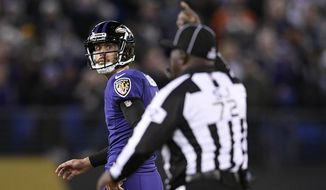 Baltimore Ravens kicker Justin Tucker, left, walks off the field after missing a point after attempt in the second half of an NFL football game against the New Orleans Saints, Sunday, Oct. 21, 2018, in Baltimore. (AP Photo/Nick Wass)