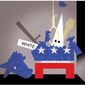 Illustration on Democrat party roots being exposed under pressure by Alexander Hunter/The Washington Times
