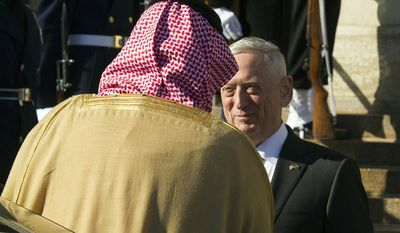 Defense Secretary Jim Mattis welcomes Saudi Crown Prince Mohammed bin Salman to the Pentagon in Washington, Thursday, March 22, 2018. (AP Photo/Cliff Owen)
