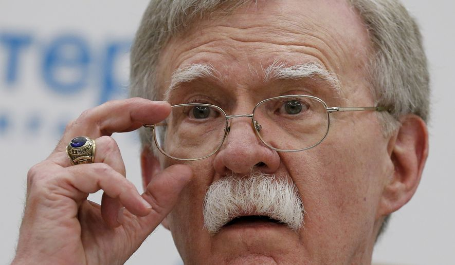 National security adviser John R. Bolton met this week with Russian President Vladimir Putin in Moscow and said President Trump intends to withdraw from the Cold War-era Intermediate-Range Nuclear Forces (INF) Treaty. (Associated Press)
