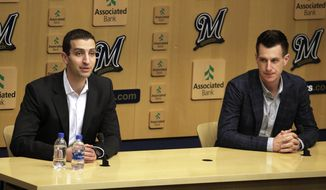 Milwaukee Brewers General Manager David Stearns and Manager Craig Counsell speak during their final press conference at Miller Park, Tuesday Oct. 23, 2018 in Milwaukee, Wis. (Rick Wood /Milwaukee Journal-Sentinel via AP)