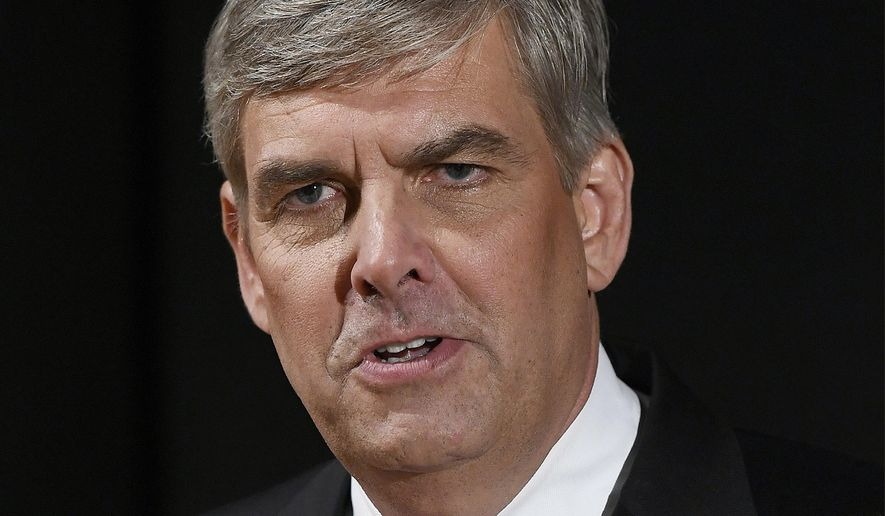 FILE - In this Sept. 26, 2018, file photo, Republican businessman Bob Stefanowski speaks to the media after gubernatorial debate at the University of Connecticut in Storrs, Conn. Stefanowski touts his work at blue-chip companies like General Electric and UBS Investment Bank. Rivals criticized the most recent item on his resume: CEO of DFC Global company, which offers financial products that are not legal in Connecticut. Stefanowski counters that his experience straightening out the troubled company would serve him well fixing the state's stubborn budget deficits. (AP Photo/Jessica Hill, File)