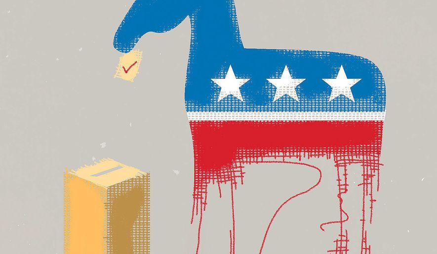 Illustration on the last minute gambits of the Democrat Party approaching the mid-term elections by Linas Garsys/The Washington Times