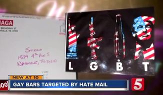 LGBT bar owners in Nashville are designating a pro-Trump flyer they've received in the mail a form of hate mail for its play on the LGBT acronym using the Statue of Liberty, a rifle (representing all guns), beer, and President Trump's visage. (Image: NewsChannel 5 Nashville video screenshot)