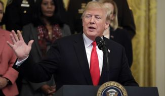 President Donald Trump speaks during an event on the opioid crisis, in the East Room of the White House, Wednesday, Oct. 24, 2018, in Washington. (AP Photo/Evan Vucci)