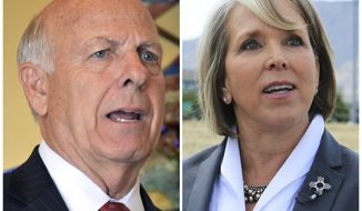 File - This combination of file photos shows Steve Pearce, left, on July 30, 2018 and Michelle Lujan Grisham on July 2, 2018, in Albuquerque, N.M. Two candidates for governor of New Mexico are scheduled to meet for a final public debate in the midst of early voting across the state. Republican Pearce and Democrat Lujan Grisham were scheduled to debate Tuesday evening, in a race dominated by concerns about poverty, public education and crime. Republican Gov. Susana Martinez cannot run for a third consecutive term in office. (AP Photos/File)