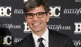 FILE - This Oct. 20, 2014 file photo shows George Stephanopoulos at the 24th Annual Broadcasting and Cable Hall of Fame Awards in New York. ABC News says it is getting a one-hour jump on its rivals covering midterm election night results. The network will start at 8 p.m. Eastern time with Stephanopoulos as anchor on Nov. 6, 2018.   Both CBS and NBC News previously said their continuous coverage would begin at 9 p.m.  (Photo by Evan Agostini/Invision/AP, File)