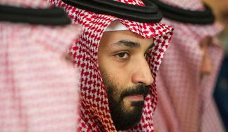 In this March 22, 2018, file photo, Saudi Crown Prince Mohammed bin Salman meets with U.S. Defense Secretary Jim Mattis at the Pentagon in Washington. (AP Photo/Cliff Owen, File)
