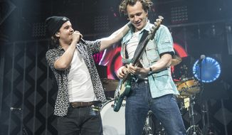"""FILE - In this Dec. 18, 2016 file photo, Lukas Forchhammer, left, and Magnus Larsson of Lukas Graham perform at Y100's iHeartRadio Jingle Ball 2016 in Sunrise, Fla. Lukas Graham's latest album, """"3 (The Purple Album),"""" will be released on Oct. 26. (Photo by Amy Harris/Invision/AP, File)"""