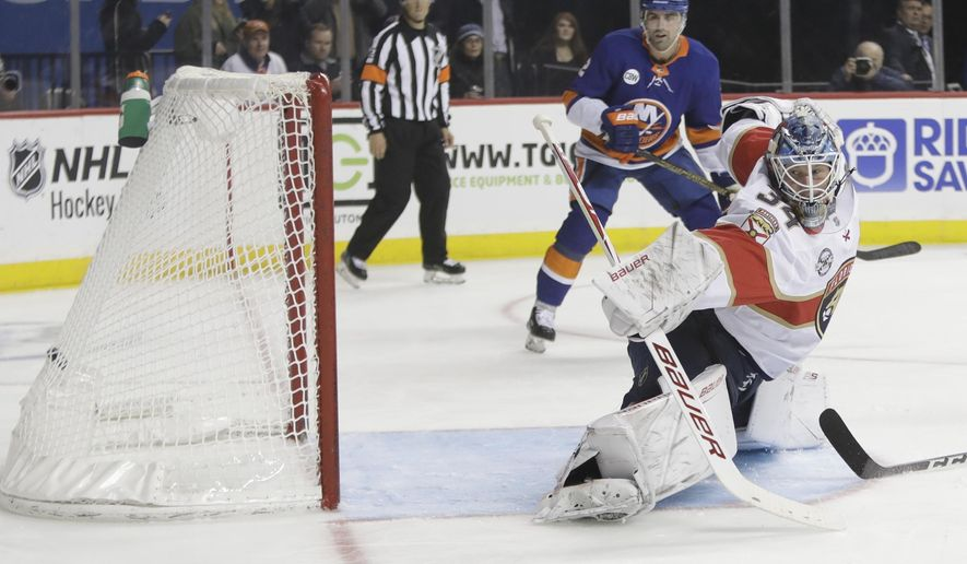 Florida Panthers goaltender James Reimer (34) reacts as New York Islanders' Jordan Eberle shoots the puck past him for a goal during the second period of an NHL hockey game Wednesday, Oct. 24, 2018, in New York. (AP Photo/Frank Franklin II)