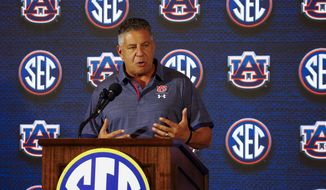 Auburn coach Bruce Pearl speaks during the Southeastern Conference men's NCAA college basketball media day, Wednesday, Oct. 17, 2018, in Birmingham, Ala. (AP Photo/Butch Dill)