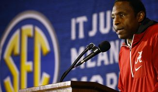 Alabama coach Avery Johnson speaks during the SEC men's NCAA college basketball media day, Wednesday, Oct. 17, 2018, in Birmingham, Ala. (AP Photo/Butch Dill)
