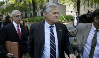FILE - In this May 12, 2016 file photo, former New York state Senate leader Dean Skelos leaves court in New York. Skelos was sentenced to four years and three months in prison Wednesday, Oct. 24, 2018, after his conviction on public corruption charges. U.S. District Judge Kimba M. Wood announced the penalty for the longtime Republican powerbroker, citing his health challenges at age 70 as reason to reduce his sentence from the five years she gave him at a previous sentencing. (AP Photo/Seth Wenig, File)