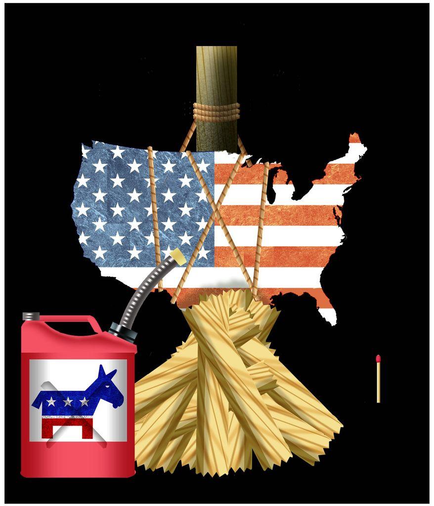 Illustration on Democrats' destructive attitude towards America by Alexander Hunter/The Washington Times
