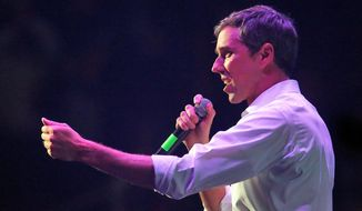 U.S. Senate candidate Rep. Beto O'Rourke campaigns at Bert Ogden Arena on Thursday, Oct. 18, 2018, in Edinburg, Texas. (Joel Martinez/The Monitor via AP)