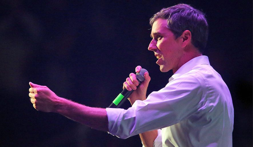 U.S. Senate candidate Rep. Beto O'Rourke campaigns at Bert Ogden Arena on Thursday, Oct. 18, 2018, in Edinburg, Texas. (Joel Martinez/The Monitor via AP)