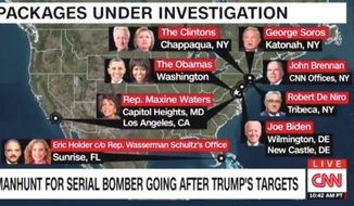 """CNN is under fire from radio host Rush Limbaugh and conservatives for a """"Trump's Targets"""" chyron graphic regarding the nation's recent mail bombings. (Image: CNN screenshot)"""