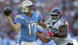 FILE - In this Oct. 21, 2018, file photo, Los Angeles Chargers quarterback Philip Rivers (17) passes the ball during the first half of an NFL football game against the Tennessee Titans, at Wembley stadium in London.  Rivers is off to one of the best starts of his 15-year career. (AP Photo/Tim Ireland, File)