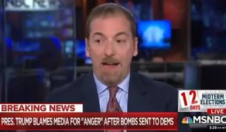 MSNBC's Chuck Todd told a panel of guests on Oct. 25, 2018, that he fears Russia may be behind a series of mail bombs sent to former President Barack Obama, former Secretary of State Hillary Clinton, billionaire George Soros and others. (Image: MSNBC screenshot)