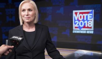 Sen. Kirsten Gillibrand, D-N.Y., speaks to reporters after the New York State Senate debate hosted by WABC-TV, Thursday, Oct. 25, 2018 in New York. (AP Photo/Mary Altaffer, Pool)