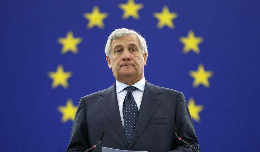 President of the European Parliament Antonio Tajani announces the winner of the Sakharov Prize in Strasbourg, eastern France, Thursday Oct. 25, 2018. The European Union has awarded its human rights prize to Oleg Sentsov, a Ukrainian filmmaker imprisoned in Russia accused of plotting acts of terrorism. (AP Photo/Jean-Francois Badias) ** FILE **