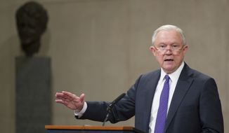 Attorney General Jeff Sessions speaks during an event to announce new strategic actions to combat the opioid crisis at the Department of Justice's National Opioid Summit in the Great Hall at the Department of Justice, Thursday, Oct. 25, 2018, in Washington. (AP Photo/Alex Brandon)
