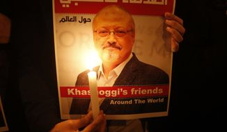 "Activists, protesting the killing of Saudi journalist Jamal Khashoggi, hold a candlelight vigil outside Saudi Arabia's consulate in Istanbul, Thursday, Oct. 25, 2018. The poster reads in Arabic:' Khashoggi's Friends Around the World'. A group of Arab and international public, political and media figures are establishing a global association called ""Khashoggi's Friends Around the World""; ""to achieve justice for the freedom martyr"".(AP Photo/Lefteris Pitarakis)"
