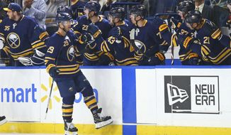 Buffalo Sabres forward Jason Pominville (29) celebrates his goal during the second period of an NHL hockey game against the Montreal Canadiens, Thursday, Oct. 25, 2018, in Buffalo N.Y. (AP Photo/Jeffrey T. Barnes)