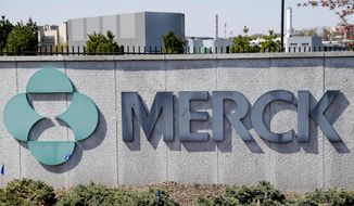 FILE- This May 1, 2018, file photo shows Merck corporate headquarters in Kenilworth, N.J. Merck & Co. reports earnings Thursday, Oct. 25. (AP Photo/Seth Wenig, File)