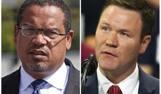 FILE - This combination of file photos shows the candidates for Minnesota attorney general from left, Democratic U.S. Rep. Keith Ellison and Republican Doug Wardlow. (AP Photo/Jim Mone, File)
