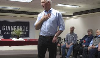 File-In this Sept. 21, 2018, photo, U.S. Rep. Greg Gianforte, R-Montana, speaks at a campaign rally in Helena, Mont. An attorney for a reporter assaulted last year by Gianforte has sent a cease-and-desist letter warning the Montana Republican not to lie about the attack as he campaigns for re-election (AP Photo/Matt Volz)