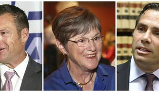FILE - This combination of file photos shows Kansas gubernatorial candidates in the November 2018 election from left: Republican Secretary of State Kris Kobach; Democratic state Sen. Laura Kelly; and Independent candidate, businessmen Greg Orman. (Thad Allton/The Topeka Capital-Journal via AP, File)