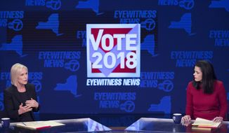 Sen. Kirsten Gillibrand, D-N.Y., left, and Republican candidate Chele Farley spar during the New York State Senate debate hosted by WABC-TV, Thursday, Oct. 25, 2018 in New York. (AP Photo/Mary Altaffer, Pool)