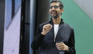 FILE - In this Wednesday, May 17, 2017 file photo, Google CEO Sundar Pichai delivers the keynote address of the Google I/O conference in Mountain View, Calif. Google says it has fired 48 employees for sexual harassment during the past two years and sent them away without a severance package. The surprise disclosure came Thursday, Oct. 25, 2018 in an email Google CEO Sundar Pichai sent to employees after The New York Times reported that the company had dismissed Andy Rubin the executive in charge of its Android software for sexual misconduct in 2014 and is still paying him a $90 million package. (AP Photo/Eric Risberg, File)