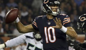 FILE - In this Monday, Sept. 17, 2018, file photo, Chicago Bears quarterback Mitchell Trubisky (10) throws a pass during the first half of an NFL football game against the Seattle Seahawks, in Chicago. The Bears face the New York Jets on Sunday, Oct. 28. (AP Photo/David Banks) ** FILE **