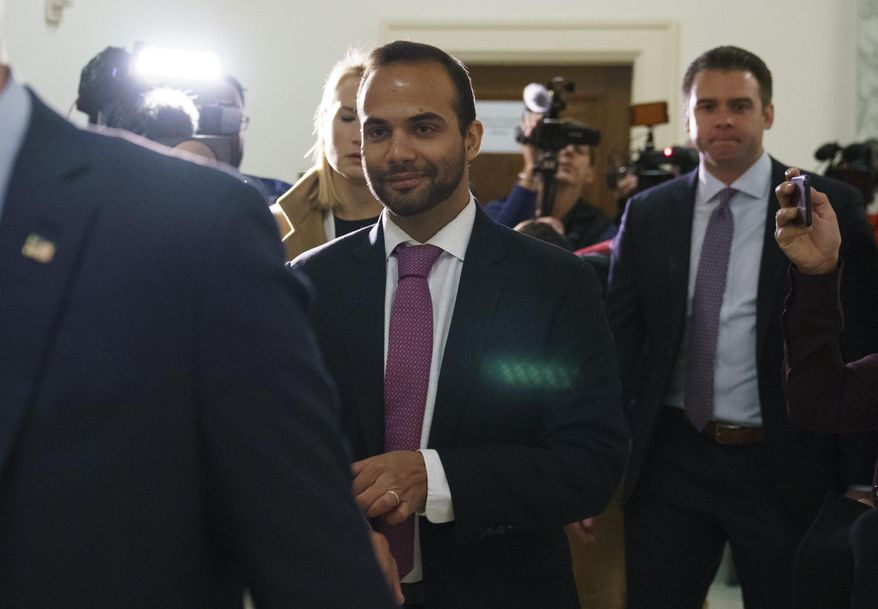 George Papadopoulos, the former Trump campaign adviser who triggered the Russia investigation, arrives for his first appearance before congressional investigators, on Capitol Hill in Washington, Thursday, Oct. 25, 2018. (AP Photo/Carolyn Kaster)