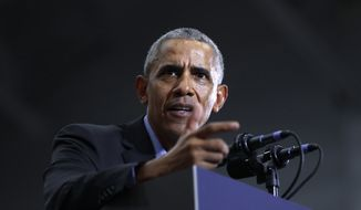 Former President Barack Obama speaks during a rally in Detroit Friday, Oct. 26, 2018. (AP Photo/Paul Sancya) **FILE**