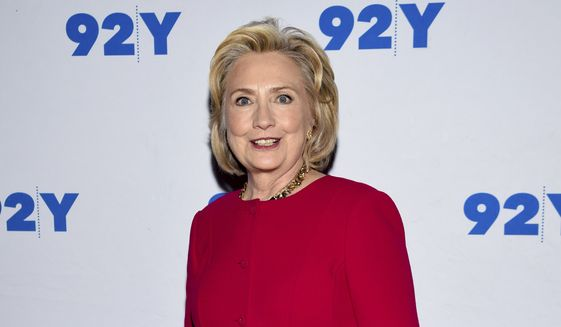 Former Secretary of State Hillary Rodham Clinton poses backstage before her conversation with Kara Swisher at the 92nd Street Y on Friday, Oct. 26, 2018, in New York. (Photo by Evan Agostini/Invision/AP) ** FILE **