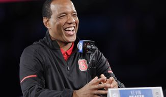 North Carolina State head coach Kevin Keatts speaks to the media during a news conference at the Atlantic Coast Conference NCAA college basketball media day in Charlotte, N.C., Wednesday, Oct. 24, 2018. (AP Photo/Chuck Burton)