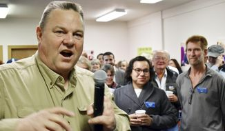 Montana Democratic Sen. Jon Tester talks with supporters at a campaign rally at the Billings Education Association headquarters in Billings, Mont., Friday, Oct. 26, 2018. Conservative groups linked to wealthy donors are saturating Montana airwaves with ads attacking Tester as they try to capitalize on President Donald Trump's feud with the lawmaker.   (AP Photo/Matthew Brown)