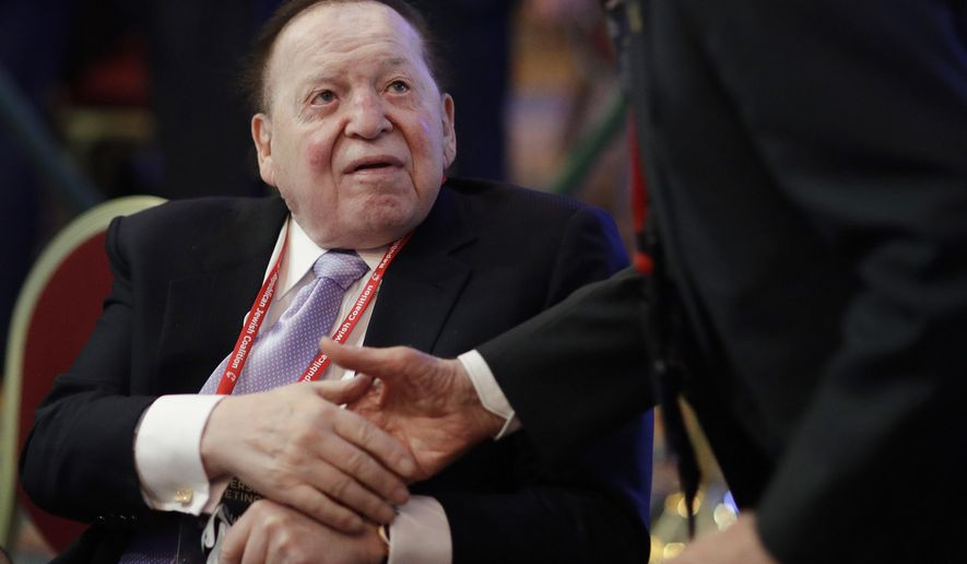 In this Feb. 24, 2017, file photo, Sheldon Adelson, chairman and CEO of the Las Vegas Sands Corporation, attends the Republican Jewish Coalition annual leadership meeting, in Las Vegas. Campaign filings show a group backed by the Las Vegas gambling billionaire is spending heavily to unseat Democratic Montana U.S. Sen. Jon Tester. (AP Photo/John Locher, File)