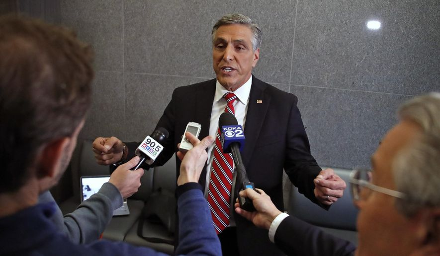 Challenger U.S. Rep. Lou Barletta meets with reporters following his second debate with U.S. Sen. Bob Casey, D-PA, Friday Oct. 26, 2018, in the studio of KDKA-TV in Pittsburgh. Casey, 58, of Scranton, is seeking a third six-year term. Barletta, 62, of Hazleton, is in his fourth term in Congress. (AP Photo/Gene J. Puskar) ** FILE **