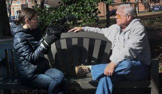 "This image released by HBO shows director Alexandra Pelosi, left, as she interviews Barry Isenhower in Charlottesvile, Va. for her documentary ""Outside the Bubble,"" premiering on Monday. (HBO via AP)"