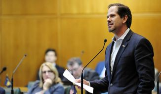 FILE - In this May 21, 2018, file photo, Oregon Republican Rep. Knute Buehler speaks in the House chamber during a special legislative session in Salem, Ore. Buehler is trying to become the first Republican elected governor in Oregon since 1982 . (AP Photo/Tom James, File)