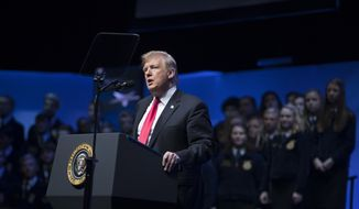 President Donald Trump speaks at the 91st Annual Future Farmers of America Convention and Expo at Bankers Life Fieldhouse in Indianapolis, Saturday, Oct. 27, 2018. (AP Photo/Andrew Harnik)