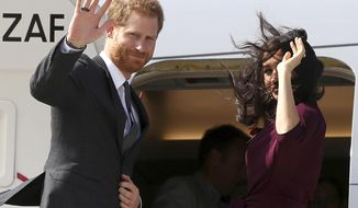 The wind whips up as Britain's Prince Harry, left, and his wife, Meghan, the Duchess of Sussex, are farewelled at the airport following the Invictus Games in Sydney, Sunday, Oct. 28, 2018. Prince Harry and Meghan are traveling to New Zealand to continue their tour of the South Pacific. (AP Photo/Rick Rycroft, Pool)