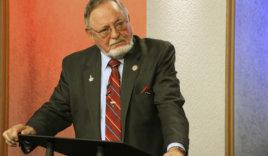 U.S. Rep. Don Young, a Republican, is shown prior to a debate Friday, Oct. 26, 2018, in Anchorage, Alaska. (AP Photo/Mark Thiessen)